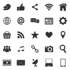 Social media icons on white background