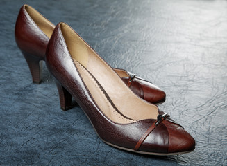 Brown female shoes against from a leather