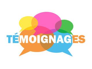 """Bulles """"TEMOIGNAGES"""" (dialogue débat avis clients utilisateurs)"""
