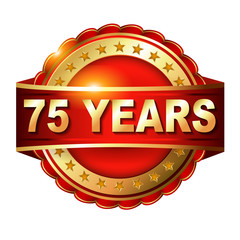 75 years anniversary golden label