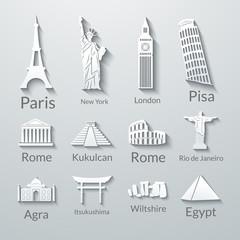World landmarks, paper icons set