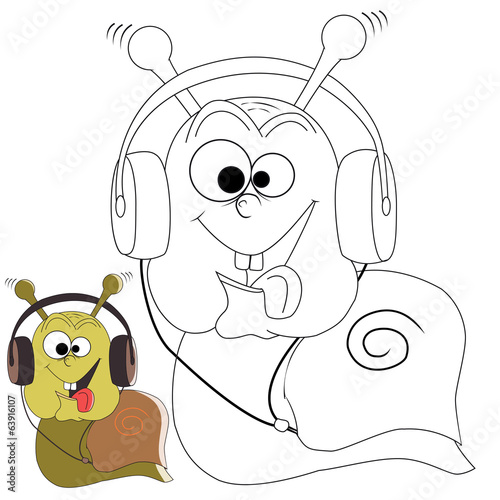 Cartoon character snaill with headphones on a white background