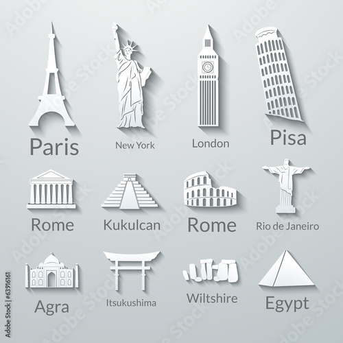 World landmarks, paper icons set