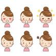 女性 顔 表情 セット
