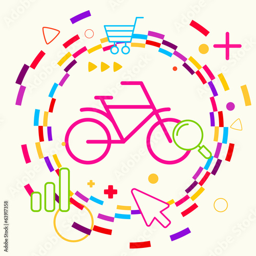 Bicycle on abstract colorful geometric light background with dif