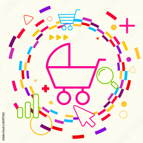 Baby carriage on abstract colorful geometric light background wi