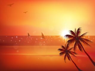 海 夕焼け 風景