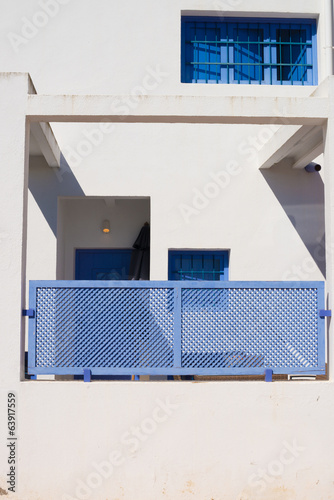 White and blue facade