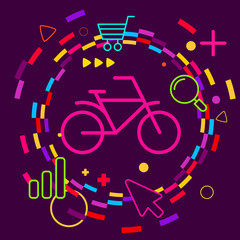 Bicycle on abstract colorful geometric dark background with diff