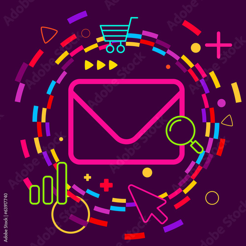 Envelope on abstract colorful geometric dark background with dif