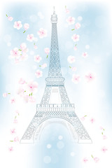 Hand drawn Eiffel tower in spring - Stock Illustration