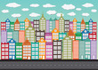 Colorful Cityscape  Town city building design