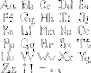 Gothic hand drawn alphabet