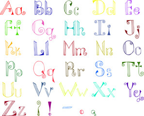 Colorful hand drawn alphabet