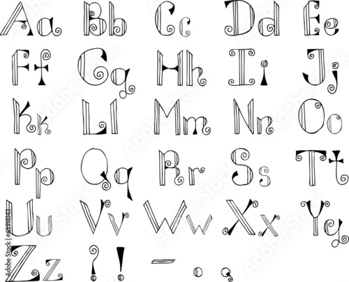 Gothic hand drawn alphabet