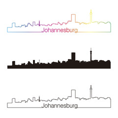 Johannesburg skyline linear style with rainbow