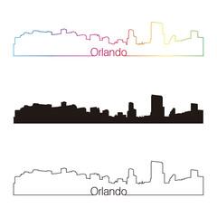 Orlando skyline linear style with rainbow