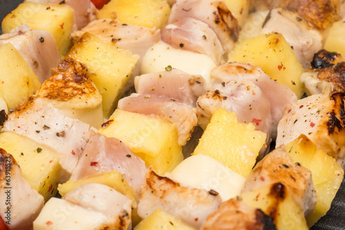 Tropical Skewers With Chicken Meat, Pineapple And Mozzarella