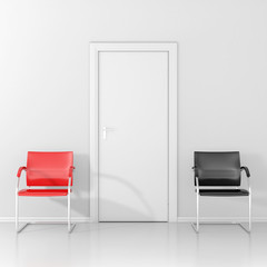 Red chair and black chair in the waiting room