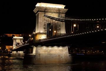 Chain Bridge by night in Budapest, Hungary