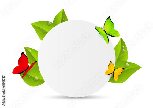 Paper sheet with green leaves and butterflies