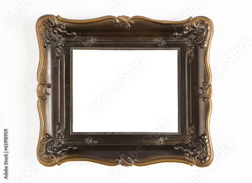 vintage carving frame isolated on white