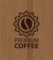 emblem of coffee on a background of wooden planks