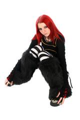 Bored red hair girl on the floor.