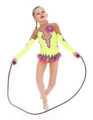 Young girl doing gymnastics