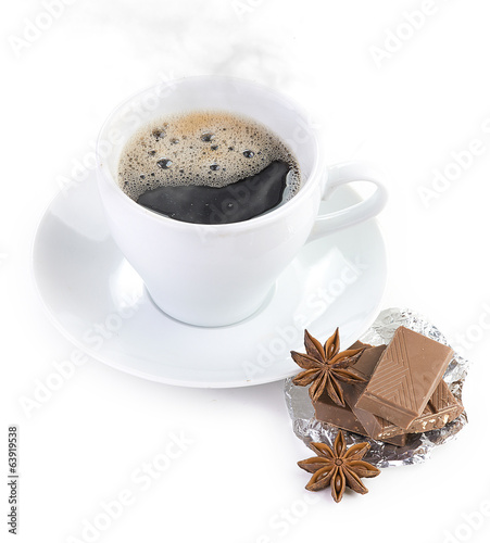 coffee with chocolate and dry breakfast