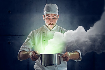 Chef cooking some green stuff