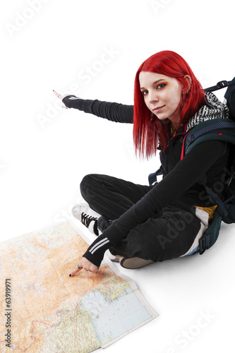 Young Dyed Hair Female Tourist Pointing On Map
