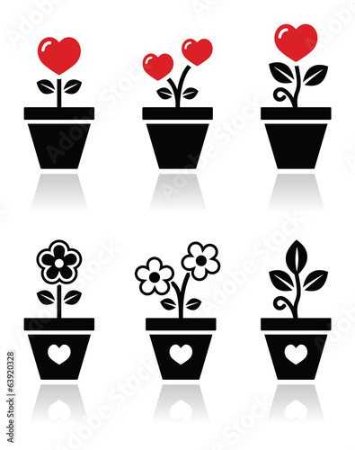 Heart in flower pot vector icons set