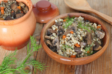 Pearl barley with mushrooms