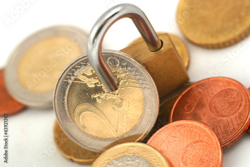 Euro coins protected with padlock