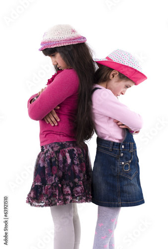Two Little Girls in Quarrel