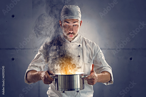 canvas print picture Chef burned the food