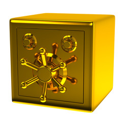 Golden security safe isolated on white background