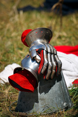 Medieval Knight Gloves, red leather