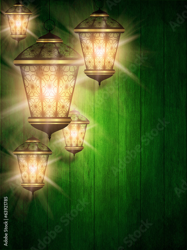 ramadan kareem background with shiny lanterns