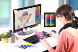 Graphic designer at work. Color samples. - 63921968