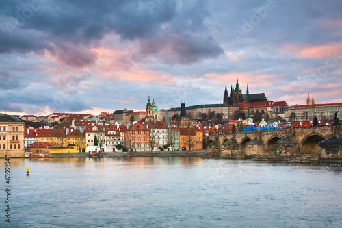 Charles Bridge, Prague castle and cathedral.