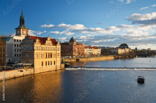 Prague cityscape with national theater, Czech Republic.