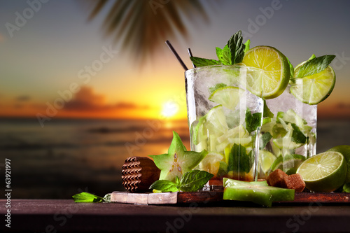 Fresh mojito cocktails on beach