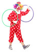 Funny clown holding two hula hoops