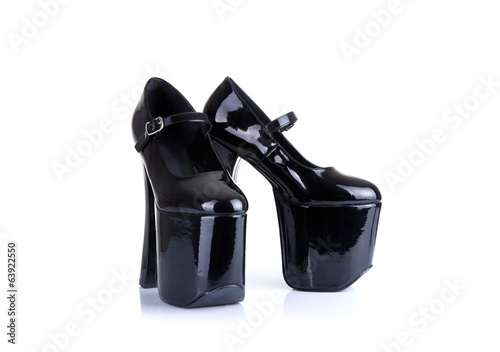 Black high heel fetish shoes