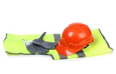 Orange helmet and gloves