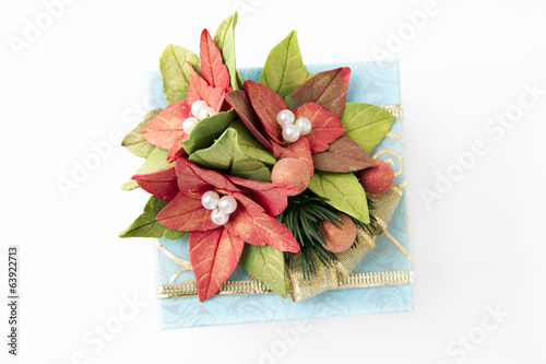 Blue gift box with flowers