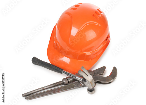 Wrench and hammer whit helmet