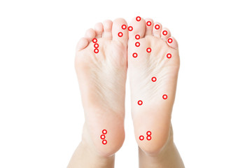 Acupressure of female feet